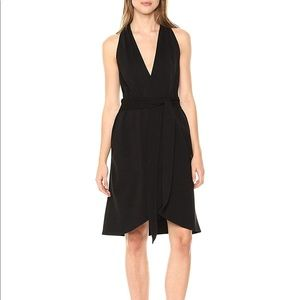 Halston Heritage Halter Belted Faux Wrap Dress
